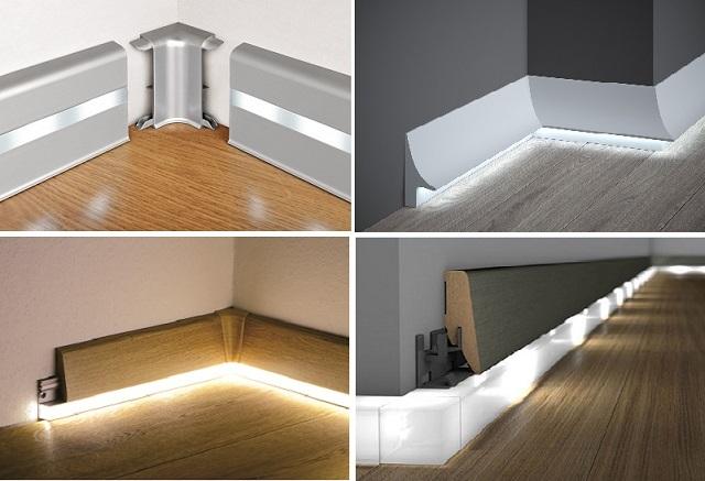 Различные варианты плинтусов с подсветкой, которые можно приобрести в готовом виде