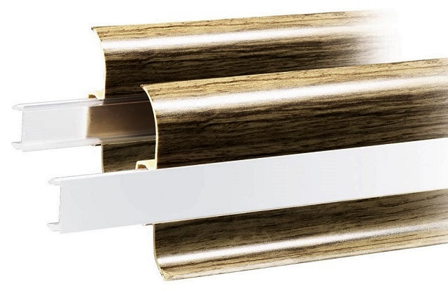Плинтусы с кабель-каналом, с прозрачной и прозрачной матовой планками-заглушками