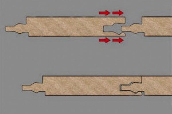 Для соединения ламинированных досок с замком типа «LOCK» требуется приложение ударного усилия