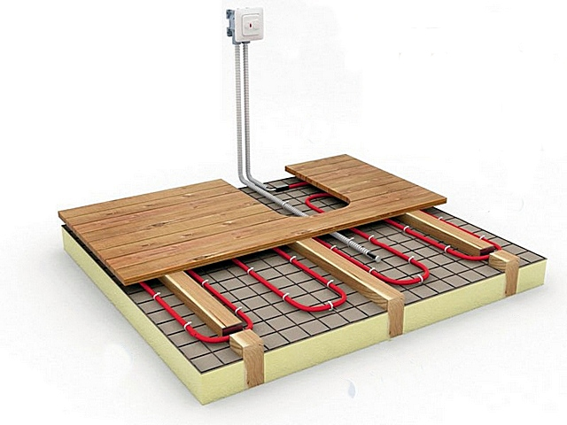 Один из вариантов размещения нагревательного кабеля в «недрах» деревянного пола