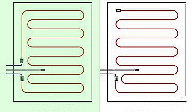 Разница в раскладке одножильного (слева) и двухжильного нагревательного кабеля.