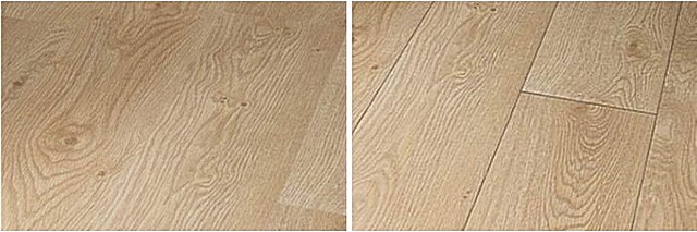 Два покрытия из ламината с совершенно идентичным оформлением лицевой части панелей. Но слева – обычные доски, справа – с фаской. Согласитесь, что правый вариант отделки пола выглядит более «живым» и внешне привлекательным.