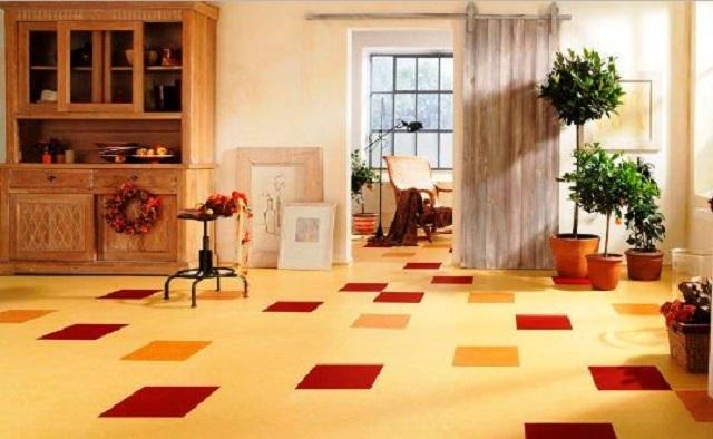 Мармолеум используется для покрытия полов в любых жилых комнатах, так как не содержит токсичных составляющих.