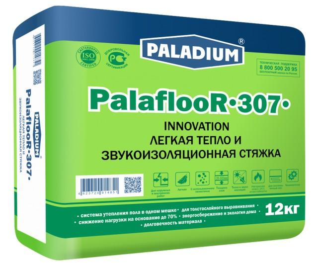 Легкая стяжка для пола с термоизоляционным и звукоизоляционным эффектом «PALADIUM PalaflooR-307». Состав – цемент + пеностекло. Плотность – не выше 500 кг/м³.
