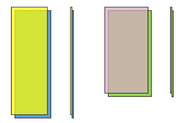 Два стандарта готовых элементов пола: 1500×500 мм (слева) и 1200×600 мм (справа). Выделение цветом сделано исключительно для наглядности строения. На деле же все эти детали – одинакового грязно-белого цвета.