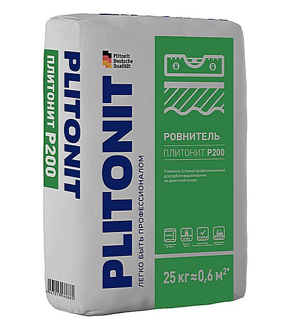«PLITONIT P200» - позволяет выравнивать полы с сильным прекосом, слоем от 20 до 100 мм