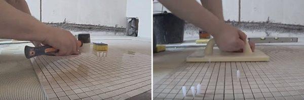Применение резинового молотка и распорных клиньев
