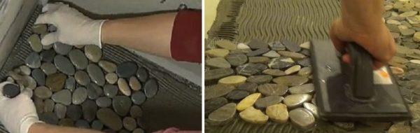 Укладка и прижатие каменной мозаики