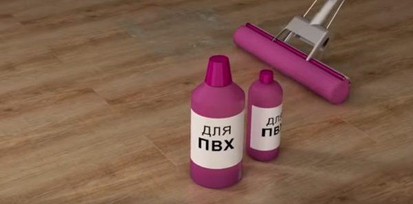 Для влажной уборки рекомендуется использовать средство, предназначенное для покрытий из ПВХ