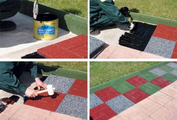 Этапы укладки резиновой плитки (на улице)