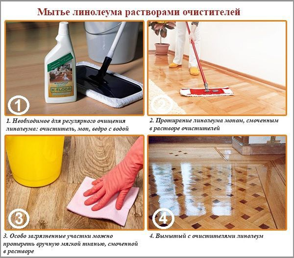 Мытье линолеума растворами очистителей