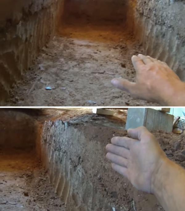 На фото строитель обозначает необходимость обустройства ровного пола и вертикальных стенок в котловане