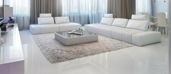 Белый наливной пол в гостиной