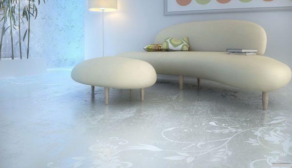 Декоративный наливной пол в современном интерьере