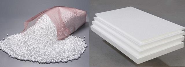 Гранулы пенопласта россыпью и плиты, получаемые в ходе формовки под воздействием горячего пара.